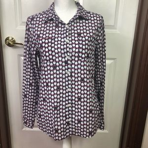 Caslon Button Front Blouse with apples
